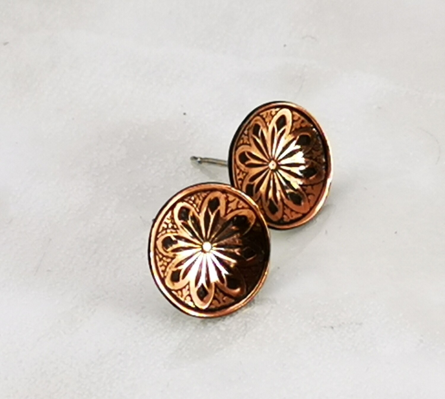 Lotus Flower Copper Stud Earrings