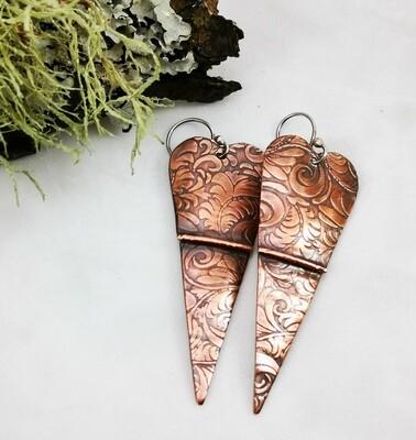 Long Sleek Fold Formed Zentangle Copper Heart Earrings