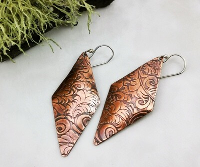 Long Sleek Diamond Shaped Copper Earrings with a Tooled Leather Pattern