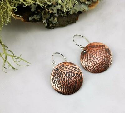 Fairy / Dragonfly Wings Copper Earrings on Sterling Silver Ear Wires