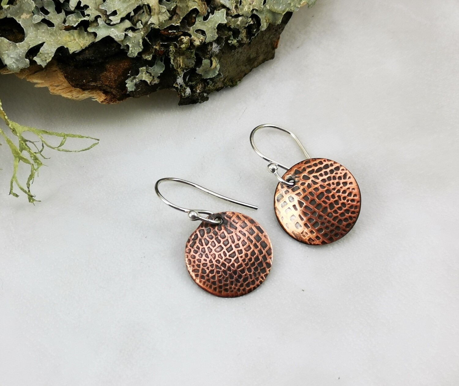 Tiny Round Fairy / Dragonfly Wings Copper Earrings on Sterling Silver Ear Wires