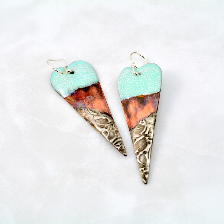 Blue Enamel, Enameled Jewelry, Enameled Earrings, Heart Earrings, Copper Jewelry, Copper Earrings, Textured Solder, Torch Enameled, Heart Copper Earrings