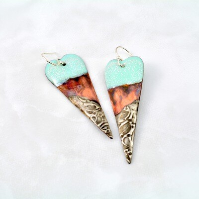 Blue Enamel, Enameled Jewelry, Enameled Earrings, Heart Earrings, Copper Jewelry, Copper Earrings, Textured Solder, Torch Enameled, Heart Copper Earrings
