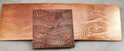 Zentangle Patterned Textured Copper Sheet - various sizes available