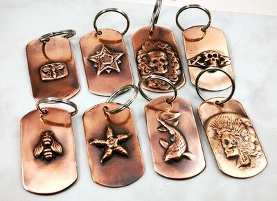 Repousse Copper Key Chain Tags in choice of design