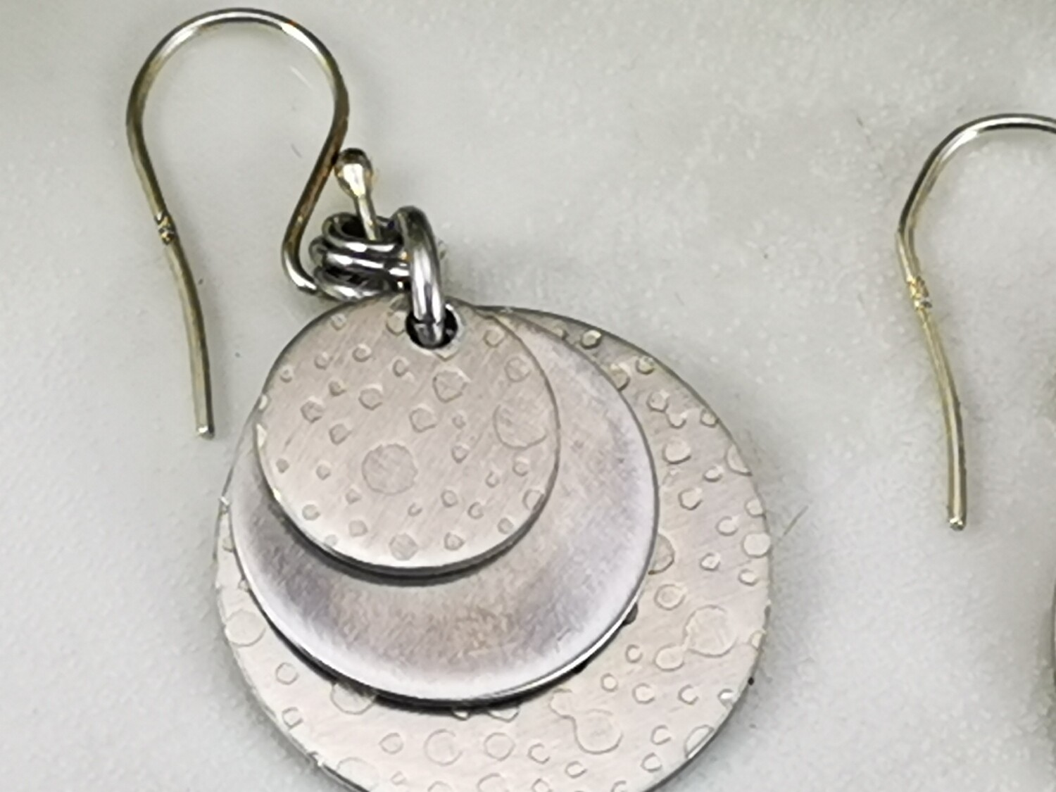 Aluminum, Circle, Round Earrings with a Bubble Patterned Texture, Lightweight, Gifts for Her