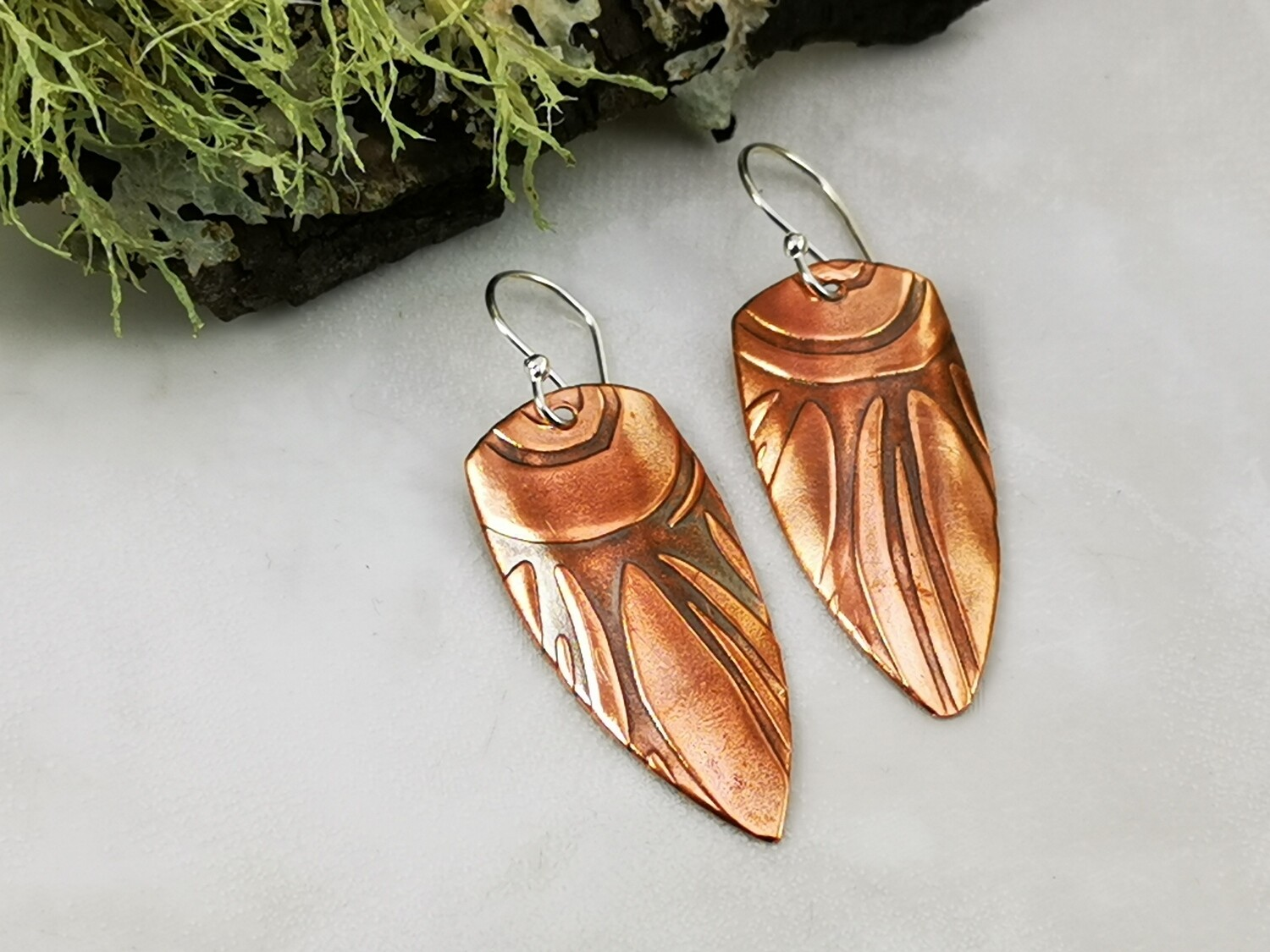 Flower Petals, Patterned Earrings, Copper Jewelry, Handmade, Patterned Copper, Patterned Metal, Dangle Earrings, One of a Kind, Gifts for Her