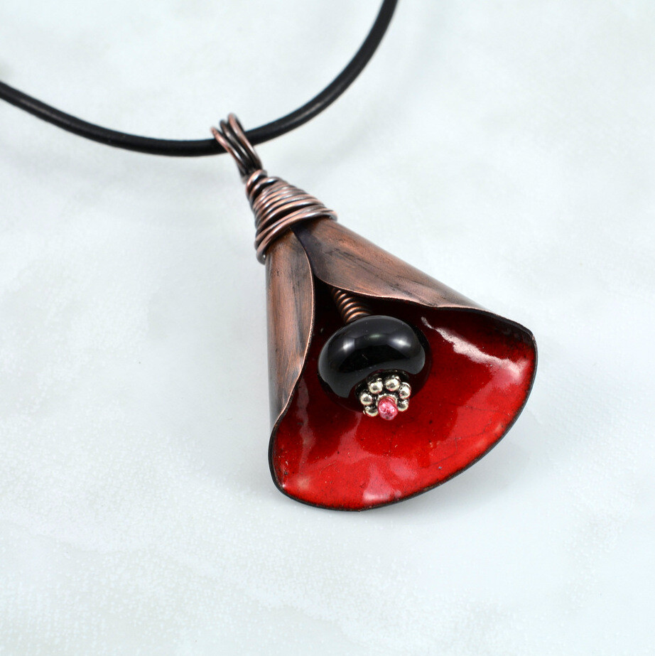 Rustic Red Torch Enameled Copper Lily Flower Pendant and Black Lampwork Bead Gift for Women Antiqued Oxidized