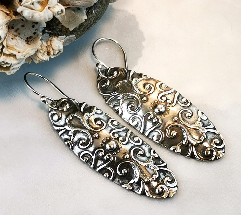Scroll Pattern Textured Sterling Silver Oval Earrings