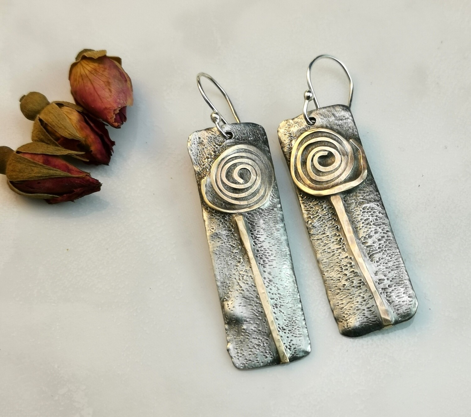 IN BLOOM Flowers, Gifts for Her, Rectangle Earrings, Rectangle Jewelry, Mixed Metal Jewelry, Mixed Metal Earrings, Brass Jewelry, Textured Solder Earrings