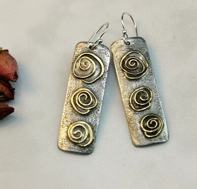 IN BLOOM Flowers, Blooming Flowers, Gifts for Her, Rectangle Earrings, Rectangle Jewelry, Mixed Metal Jewelry, Mixed Metal Earrings, Brass Jewelry, Textured Solder Earrings