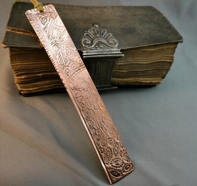 Handmade Doodle Patterned Copper Bookmark