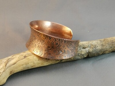 Antiqued Copper Field Flower Patterned Textured Anticlastic Formed Cuff Bracelet