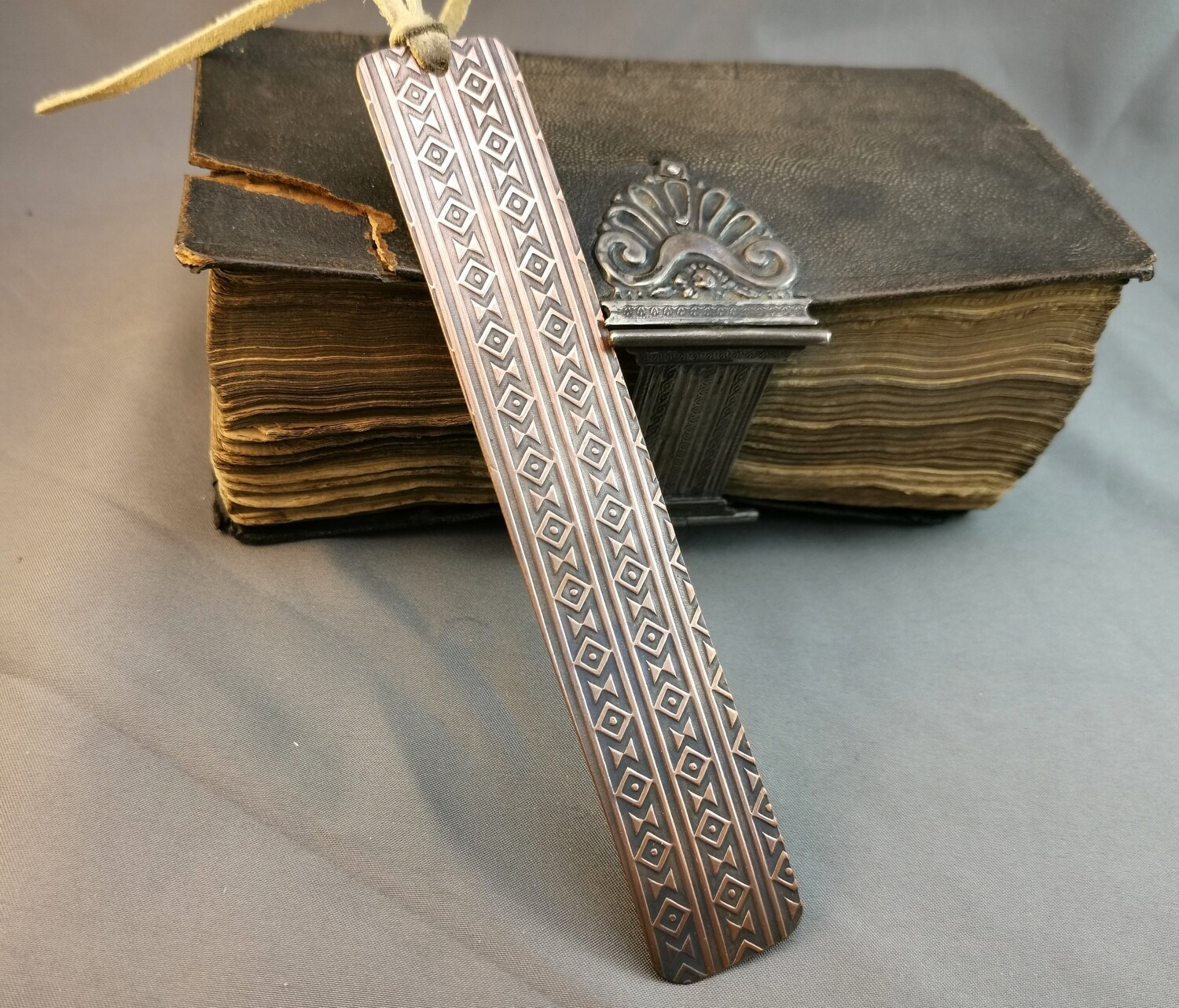 Handmade Patterned Textured Copper Bookmark
