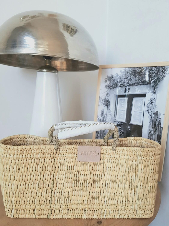 Panier collection Camille anses en cuir blanc petit modèle