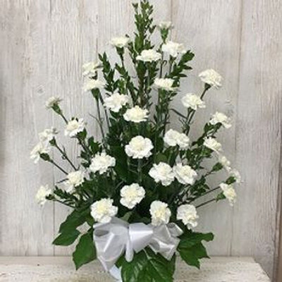Classy Carnations In White