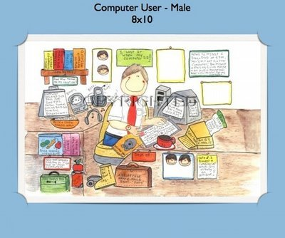 Computer User Male  - Personalized Cartoon Gift (#2)