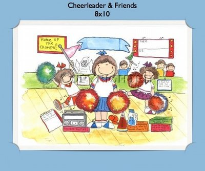 Cheerleader and Friends  - Personalized Cartoon Gift