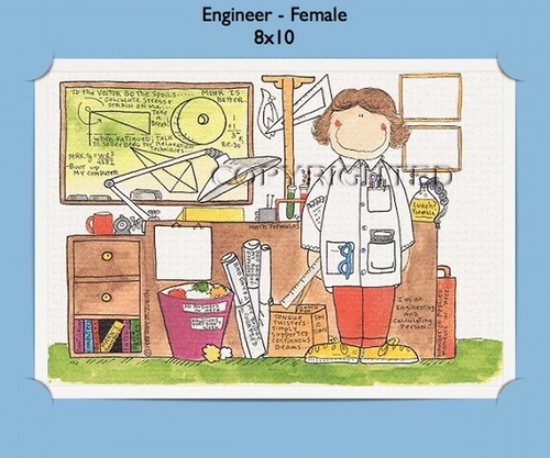 engineer female personalized cartoon gift     personalized gifts  store