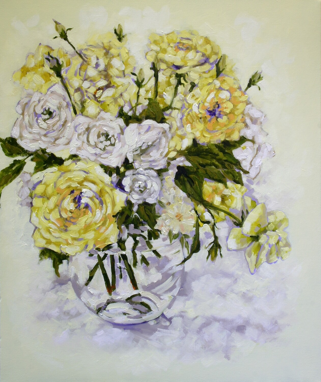 Yellow and White Roses - Still Life Original Art on Canvas