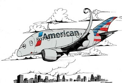 American Airlines Boeing 787 Aviation Caricature, 11
