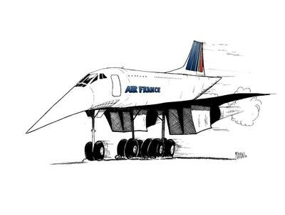 Air France Concorde SST Aviation Caricature, 11