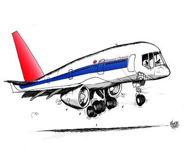 Northwest Orient Boeing 757 Aviation Caricature, 11