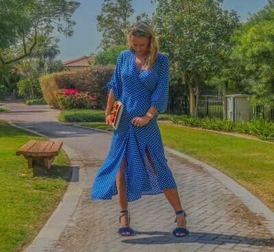 The Classic Wrap Dress: Bright Blue Polka Dot