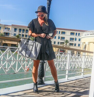 The Cape Wrap Dress: Black Polkadot Print