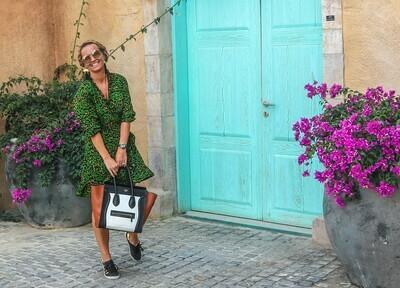 The Ruffle Wrap Dress: Animal Print - Green