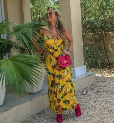 The Florida Girl Dress: Yellow Pineapple Print