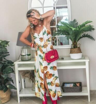 The Florida Girl Dress: White Pineapple Print