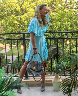 The Cape Wrap Dress: Blue Polkadot Print