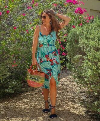 The Jumeriah Dress: Green Striped Print