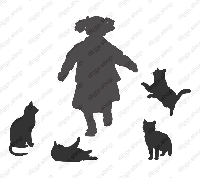 Geboortekaartje Meisje en katten (361)