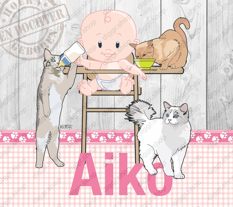 Geboortekaartje Met katten (381)