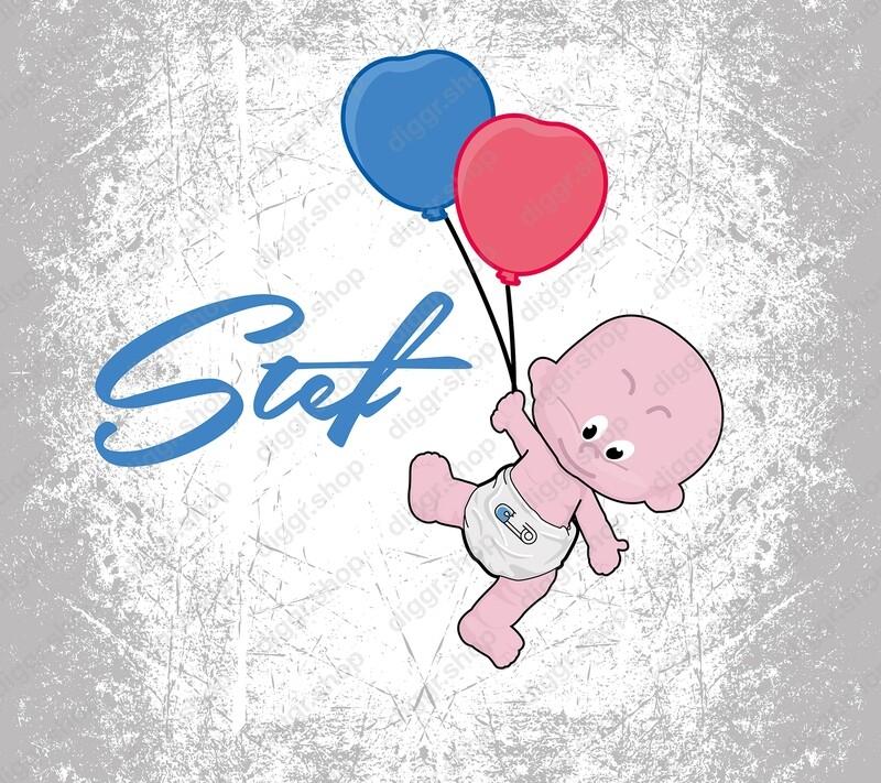 Geboortekaartje Baby & ballonnen (453)