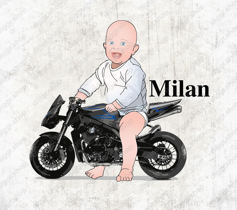 Geboortekaartje Baby op Japanse motor (2110)