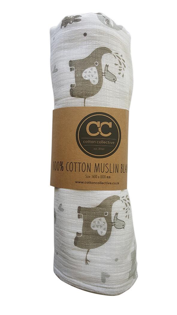 Muslin swaddle baby blankets - Ellie & Friends - 100% cotton