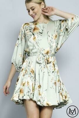 Tie waist Floral Mini Dress