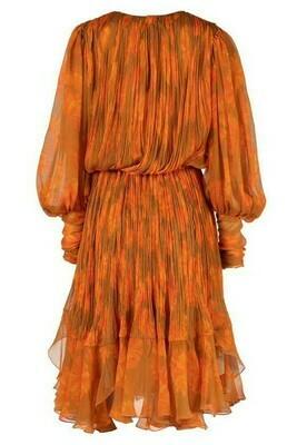 Classy  Orange Floral Dress