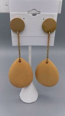Wooden Drop Oval Earrings