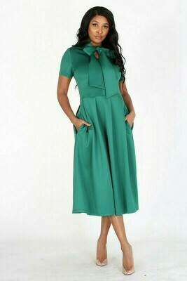 Fit and Flare Midi Dress Green