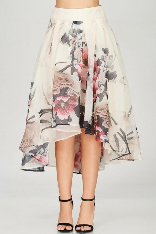 Pearl Aline High Low Organza Skirt