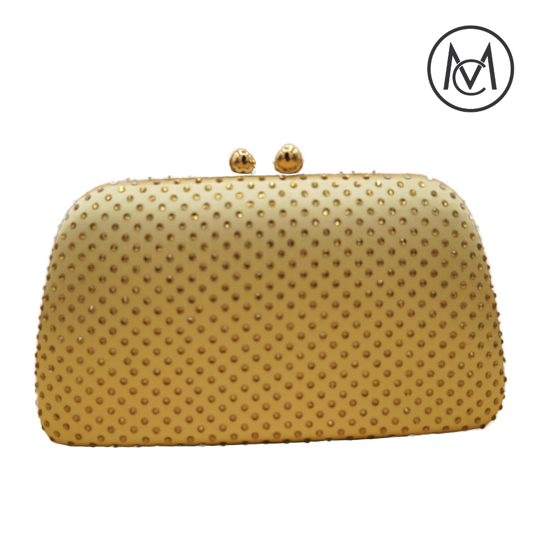 Gold Rhinestone Evening Clutch