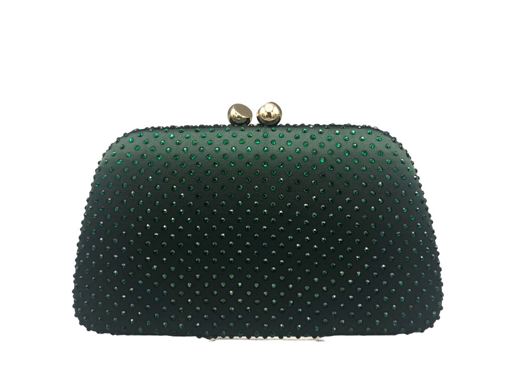 Emerald Rhinestone Clutch