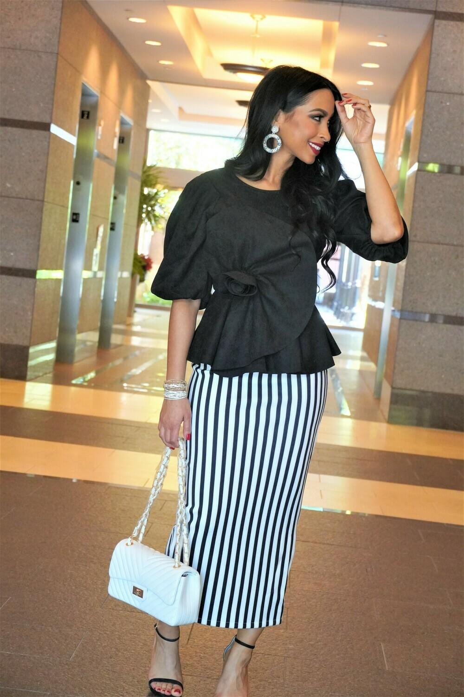 White/Black Striped Midi Skirt