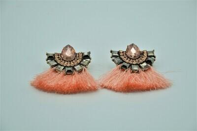 Peach Stoned Tassle Earrings