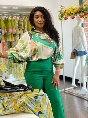 Silk Print Green Blouse