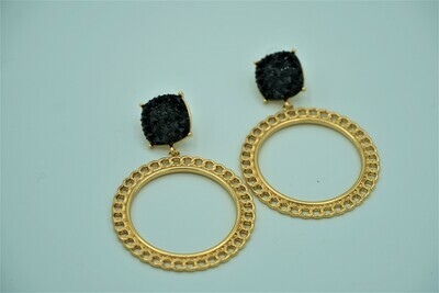 Black and Gold Round Earring